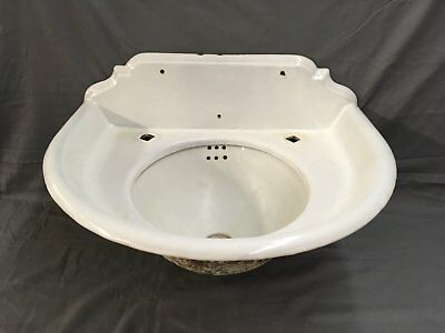 Antique Cast Iron White Porcelain Ornate 2 Piece Bathroom Sink old Vtg 542-17E