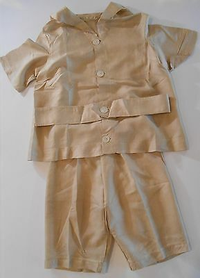 Tan Vintage Boy's Outfit, Shirt with sailor collar and belt, Matching Pants