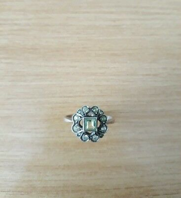 METAL DETECTING FIND ANTIQUE / VINTAGE 9CT GOLD & STERLING SILVER RING peridot