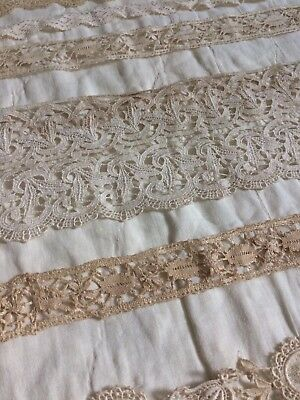 (10) Antique 1920s Princess Lace  Edwardian embroidery trim Doll Making Wedding