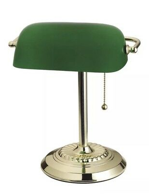Bankers Lamp Brass Green Glass Vintage Desk Laboratory Student Library Reading