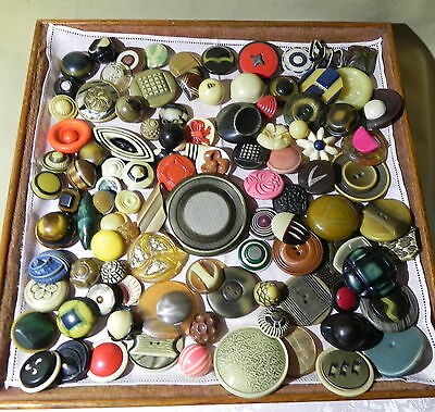 Group Of 100 ++  Vintage Celluloid Buttons -All Types, Sizes,  Shapes, & Colors