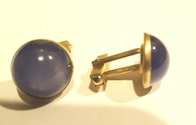 Vintage Circa 1948-1960 ANSON Blue Moonglow Lucite Cuff Links Cufflinks