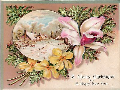 1800's- Victorian - A Merry Christmas & New Year Greeting Card - Trade Card