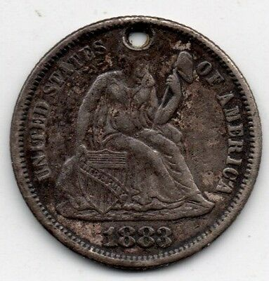 1883 Seated Liberty Dime Love Token Extremely Nice