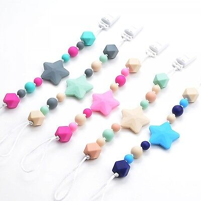 Star Silicone Pacifier Teething Baby Soother Chain Beads Bpa Free Teeth 2017