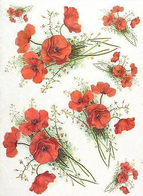 Rice Paper for Decoupage Decopatch Scrapbook Craft Sheet Red Poppy
