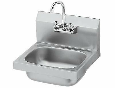 "Stainless Steel Wall Mount Hand Sink w/ Faucet 14""x10""x5"" -NSF-NEW"
