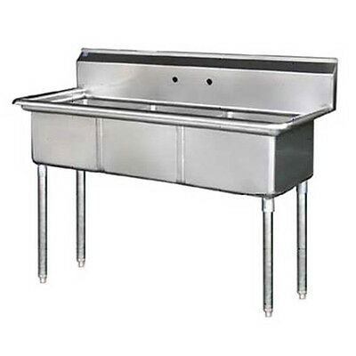 "Stainless Steel 60"" X 24"" 3 Three Compartment Sink No Drainboard NSF 18x18x11"""