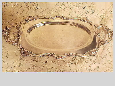 Vintage Small Size Heavy Silverplate Double Handled Tray Wonderful!
