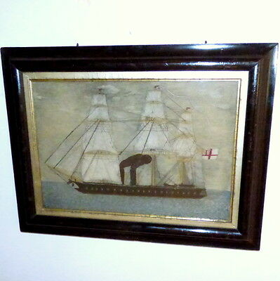 Victorian Sailor's Woolie of an Early Steam Ship