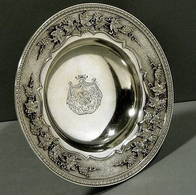 American Sterling Tazza GRAPE & LEAF GEORGE III MANNER Armorial Coat of Arms