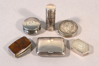 Collection of 6 Antique Silver Boxes, 800 & sterling