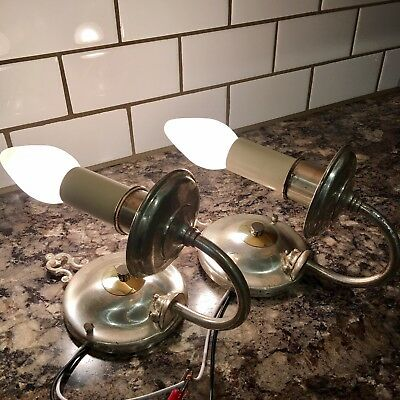 Wired Pair Antique Silver Wall Sconce Pair Light Lights Lighting Fixtures 1B