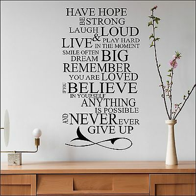 Have Hope Laugh Loud Believe in Yourself Wall Sticker Quote Cut Vinyl Transfer