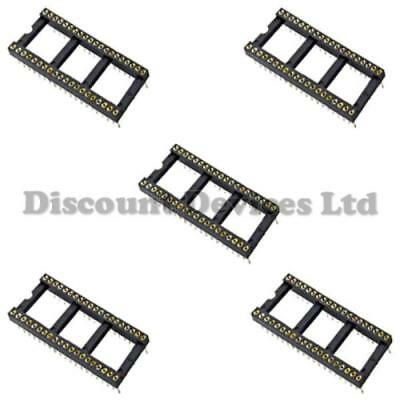 """5x DIL-40/DIP40Quality Precision/Turned PIN Open Frame PCB 40 Way IC Socket 0.6"""""""