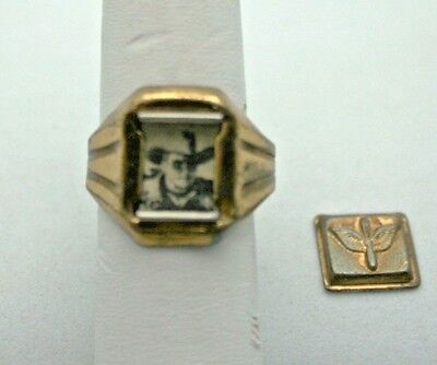 Lone Ranger Ring 1942 Army Air Corps Secret Compartment Photo Ring Vintage