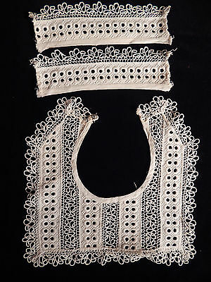 Lace Collar & Cuffs Embroidery, Open Cutwork Vintage