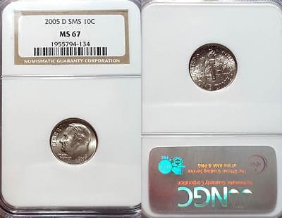 2005-D Roosevelt Dime Sms Satin Finish Ngc Ms67 Nice Coin