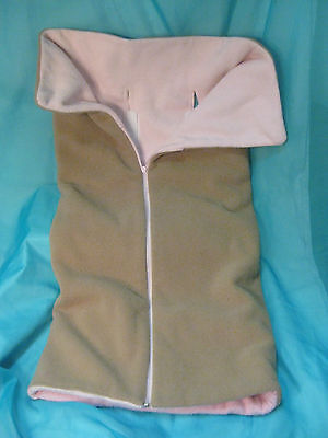 Cuddle Care Car Seat Stroller Blanket Tan & Pink w/ Butterfly Design
