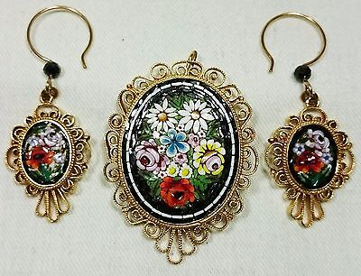 Micro Mosaic Italy Grand Tour Earrings & Necklace Jewelry Set Gold Plated Brass