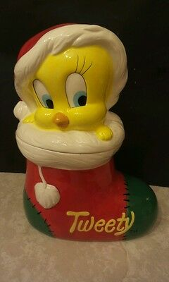 Tweety Bird Santa Hat Christmas 1993 Warner Bros Cookie Jar Used