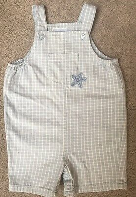 Infant Baby Boys Janie & Jack Blue White Check Cotton  Romper 3-6 Months EUC