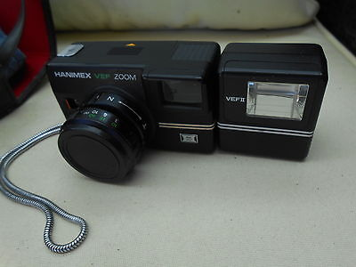 Vintage Hanimex VEF Zoom Camera, Flash and Case