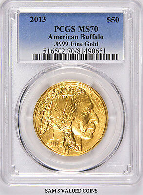 2013 American $50 Gold Uncirculated Buffalo Pcgs Ms70  - 1 Oz Gold --- (0651)