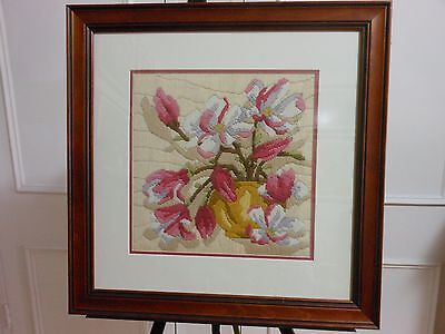 Tapestry Canvas Long Stitch Finished Framed Flowers in Vase