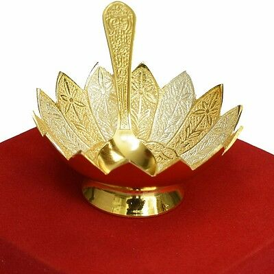 Designer Indian Handicraft Silver Gold Plated Bowl Spoon Set with Box Packing