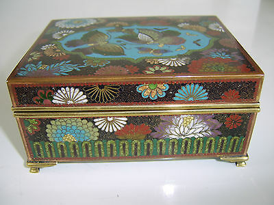 Fine Quality Exceptional Antique Chinese Cloisonne Box Amazing Very Rare Example