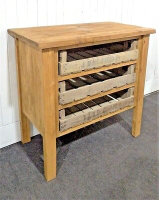 Vintage reclaimed wood farmhouse rustic pine console - sideboard with crates
