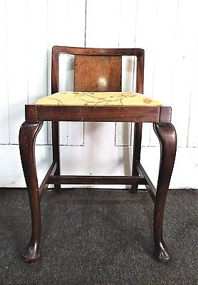 Antique vintage Queen Anne dresssing table stool - piano chair - window seat