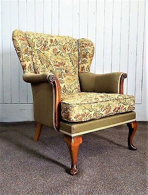Antique vintage carved wing back button detail arm chair - armchair
