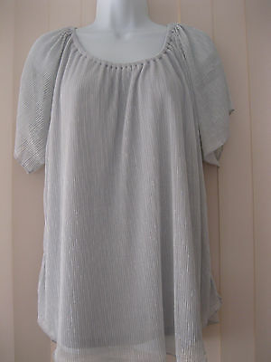 Gorgeous Chic Women's Top - Size Xl (16-18) - Silver - Brand New