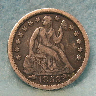 1853 Seated Liberty Silver Dime Solid VF * Circulated US Coin *