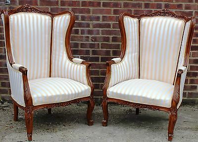 Antique French Furniture - Pair Of Wingback Armchairs - Louis - Gold C338