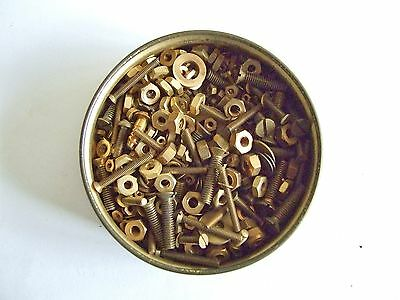 Brass clock screws nuts washers. Hundreds for clock maker repairs