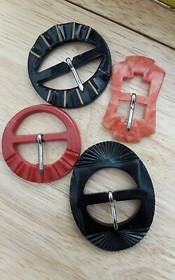 4 VINTAGE FRENCH DECO - 50s EARLY PLASTIC BUCKLES