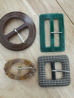 4 VINTAGE FRENCH DECO - 50s EARLY PLASTIC BUCKLES 1 CZECHOSLOVAKIAN