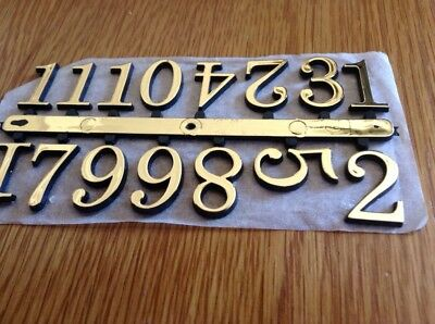 Clock Face Numbers 20mm High,  Gold Colour Plastic,