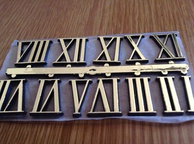 Clock Face Numbers 21mm High,  Gold Colour Plastic,
