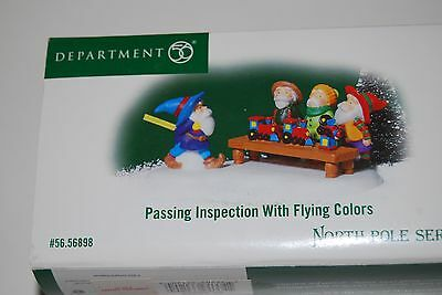 Dept 56 North Pole Series Passing Inspection With Flying Colors NEW!