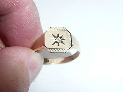 Fab Mens Solid 9Ct Gold & Diamond Signet Pinky Ring Size V 20.33Mm Dia 3.2 Grams