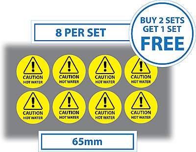 8 x Caution Hot Water Stickers Vinyl Self Adhesive Stickers Decals 65mm Signs