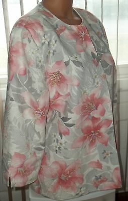 Alfred Dunner  Gray Pink Floral  Open Front Blazer Jacket 14