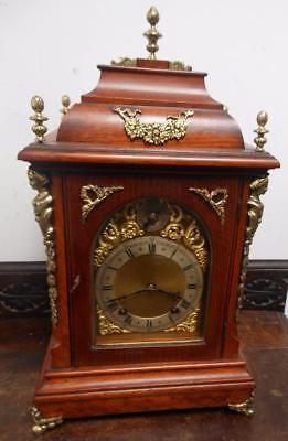 good quality oak and brass 1/4 strike bracket clock c1900s