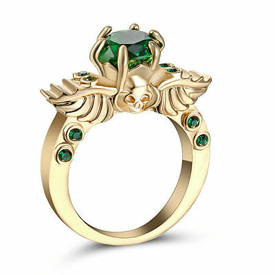 Goth Emerald Green Golden Skull Ring Size 9 Replica Gothic Wings Alchemy Fashion