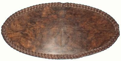 "Large Vintage Burl Wood Tray With Wicker Trim 30""   A Beauty!"